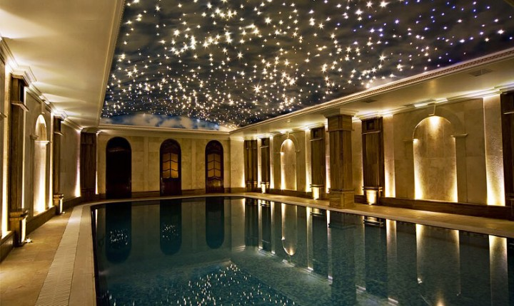 Swimming pool with wet area star lighting ceiling kit